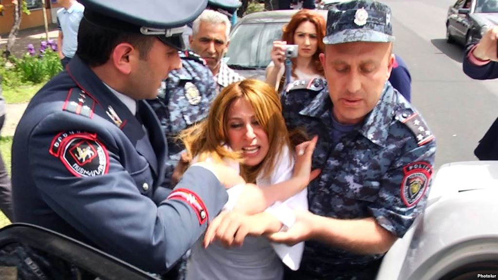 Zarui Postanjian and her daughter Lilit Drampian were forced out of the campaign office of incumbent Mayor Taron Margarian.