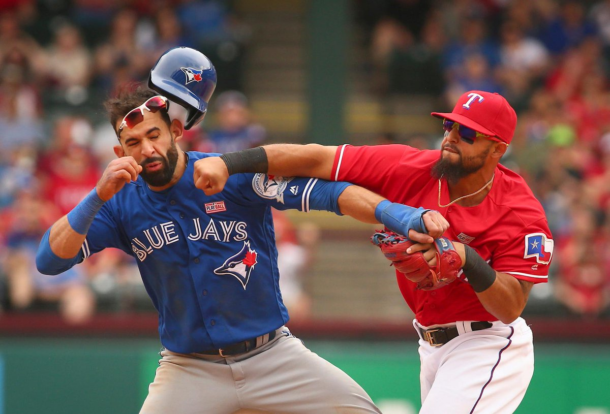 On this date one year ago, Odor and Joey Bats cleared the benches. [Credit: Fort Worth Star-Telegram]