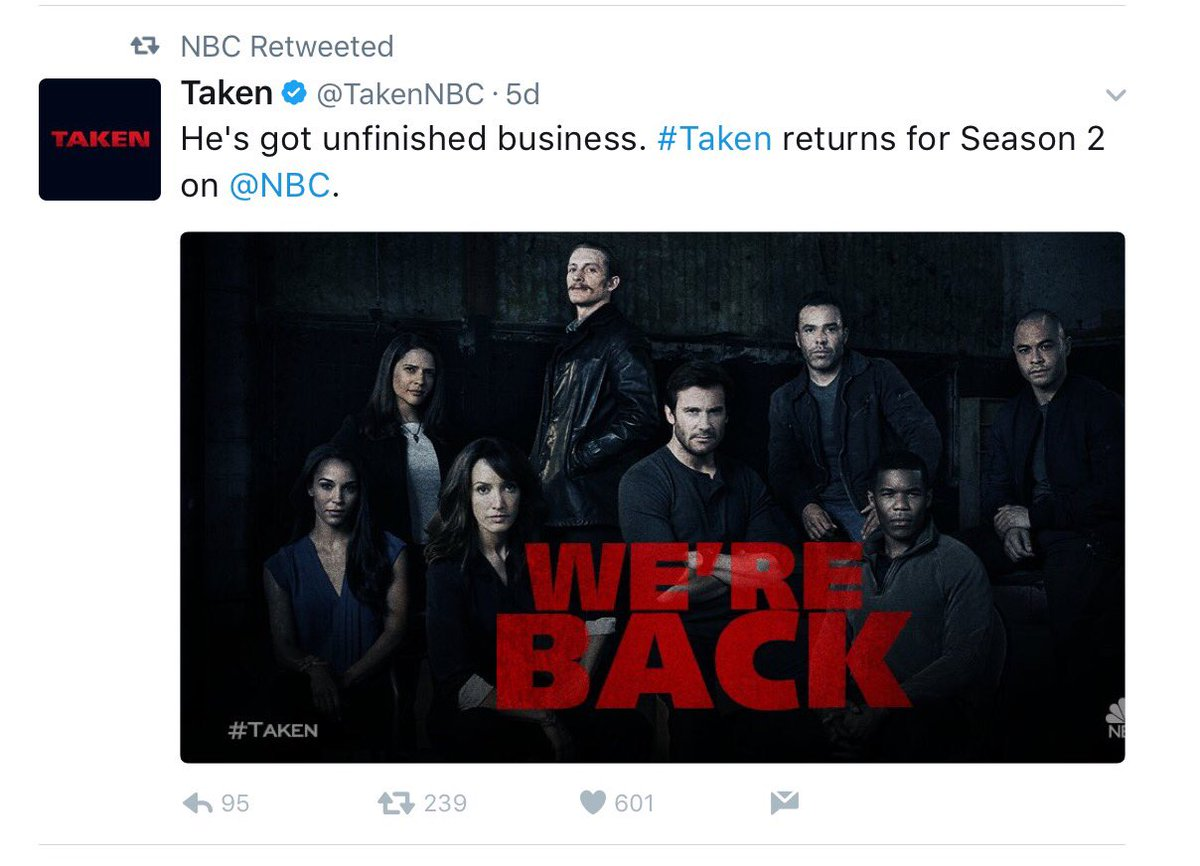 From the @NBC website today: compare the number of likes for the renewal tweets of #Taken (601), #Blindspot (1823) and #Timeless (7356)!<br>http://pic.twitter.com/lz0nJ9n5dL &ndash; à Los Angeles International Airport (LAX)