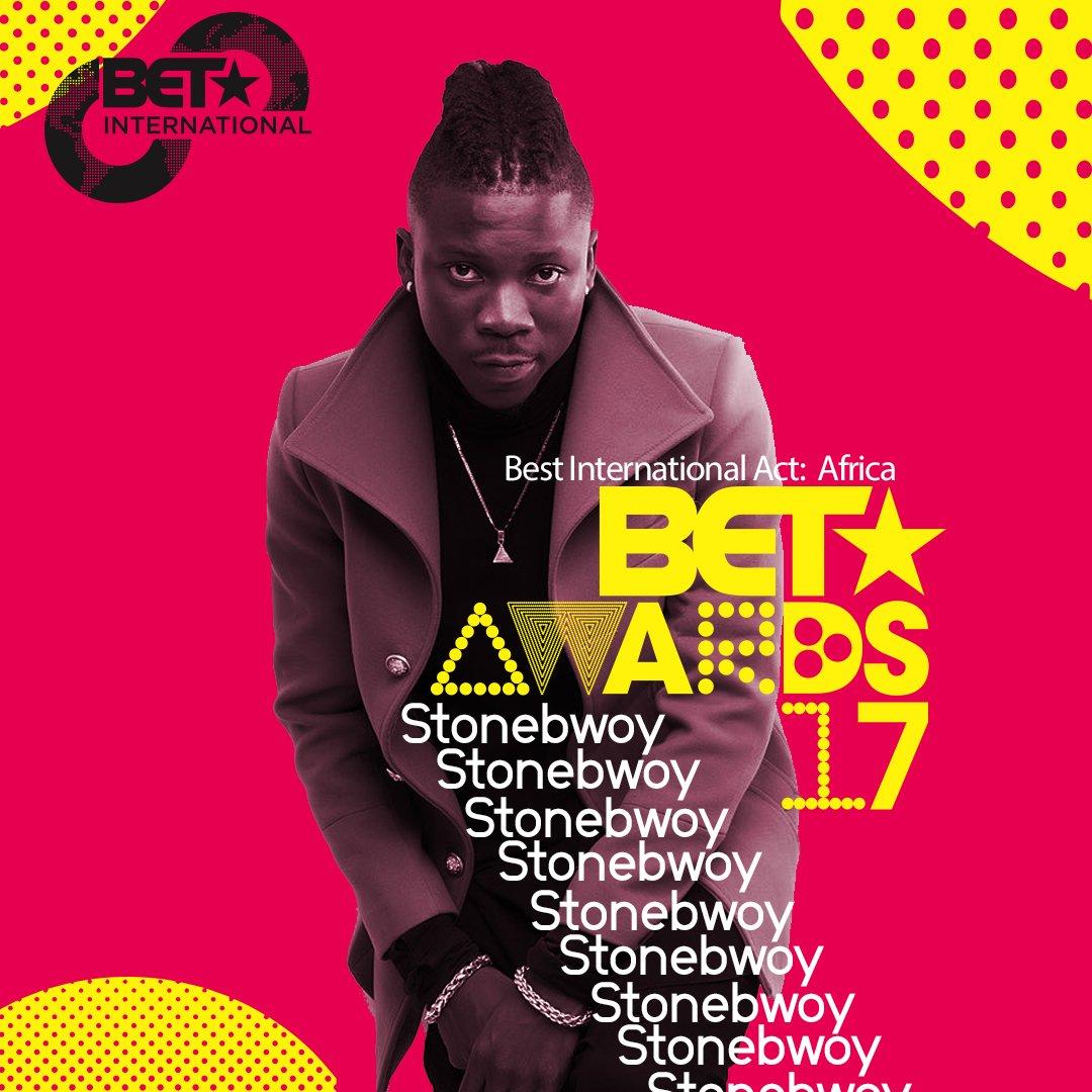 .@stonebwoyb #BestIntlActAfrica Nominee #BETAwards 2017! https://t.co/ADo5YaD8nS