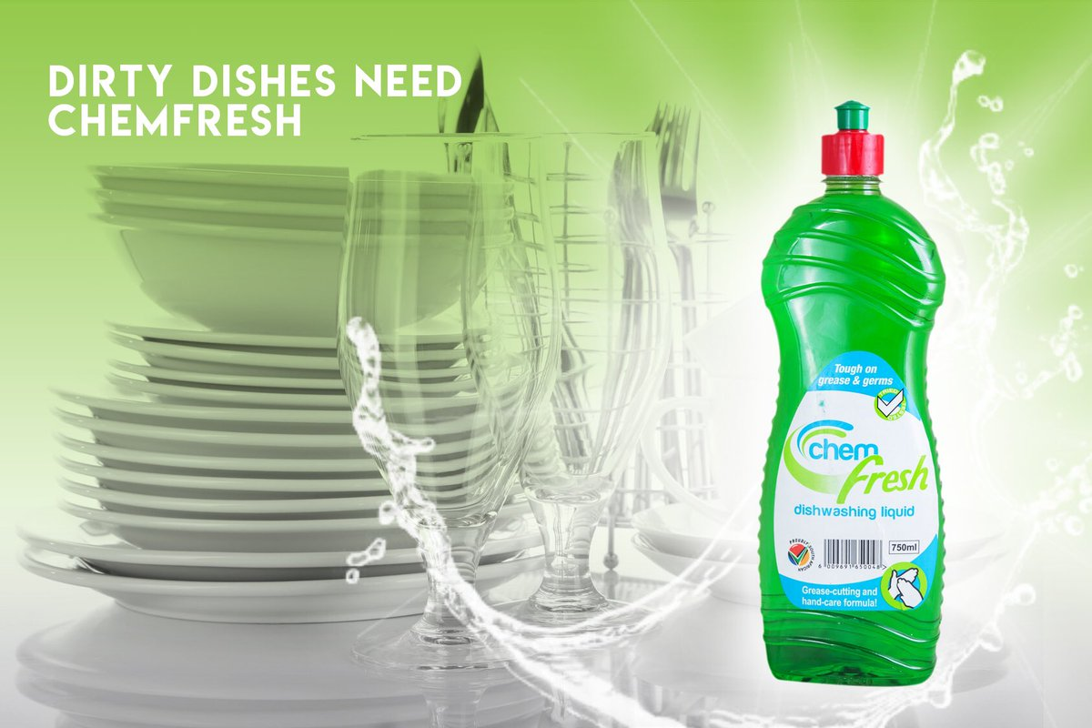 Dirty dishes 'Definitely' need Chemfresh. Get it now at your local Pick N' Pay.