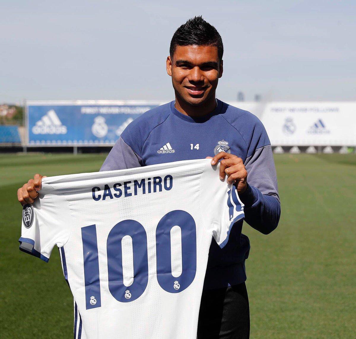 """Casemiro on Twitter """"No son 100 partidos Son 100 sue±os con este"""