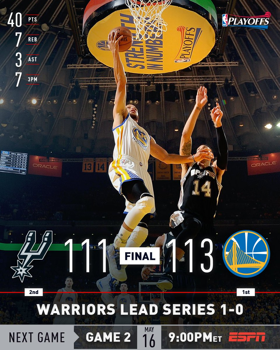 The @warriors Take 1-0 Western Conference Finals Lead With