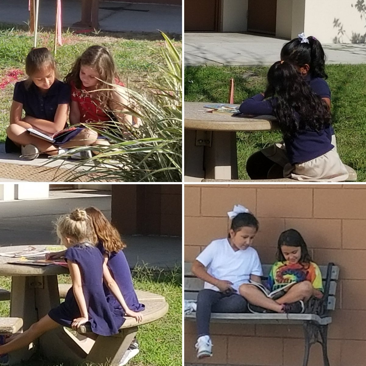Buddy reading while enjoying the cooler temps. #hcpsteach #endoftheyear @HCPSRiverhills
