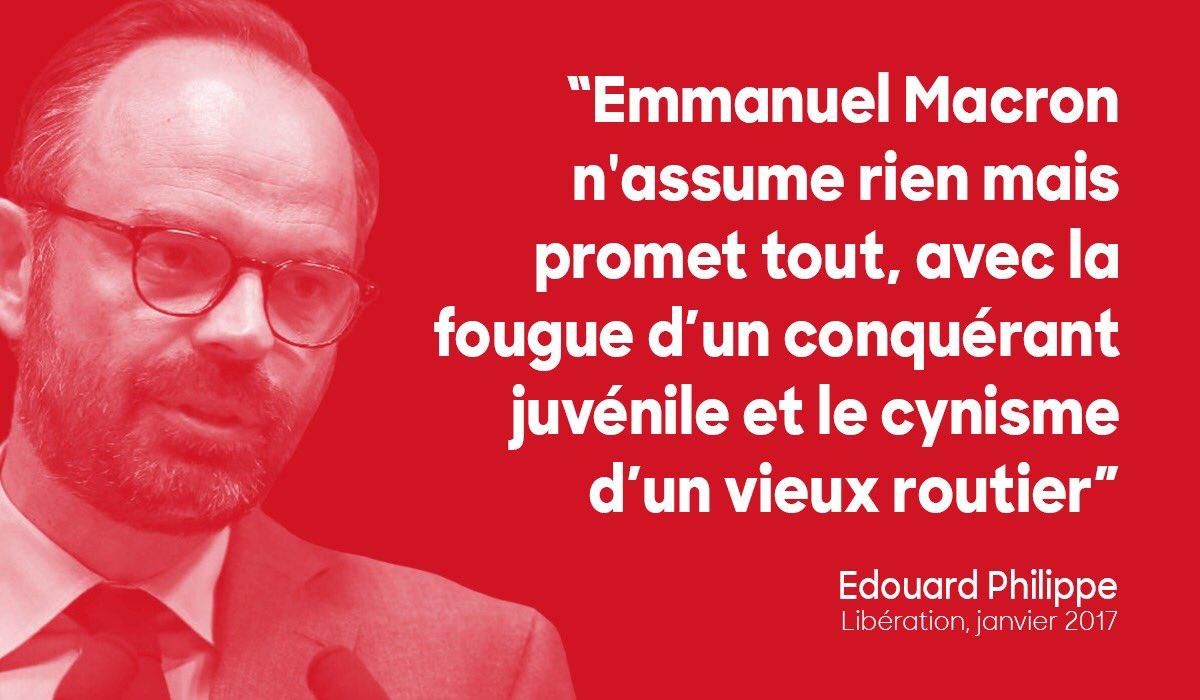 Les récentes déclarations d'#EdouardPhilippe sur Emmanuel #Macron démontrent que seul l'opportunisme l'a guidé vers cette décision