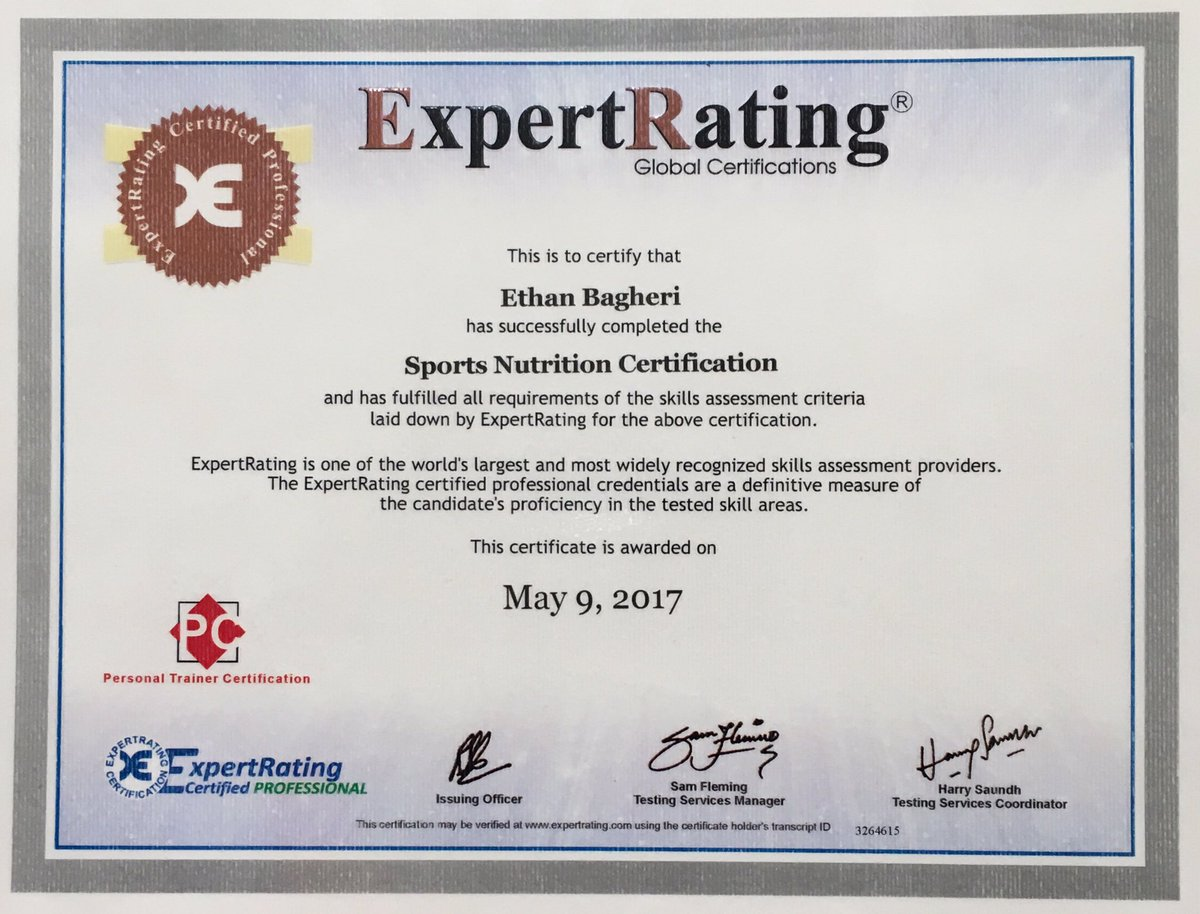 Ethan Bagheri On Twitter Sports Nutrition Certificate May