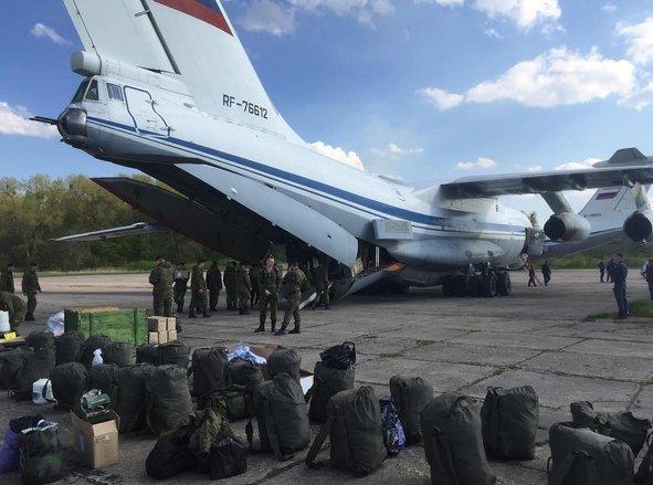 RUAF Il-76 76612 unloading Baltic Fleet troops after Chkalovsky-Chernyakhovsk flight 13MAY17. Additional Il-76 on background.