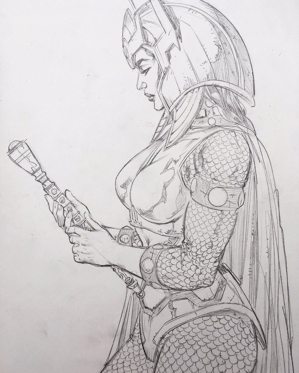 Sketch for a Big Barda.  #commissions https://t.co/wX3zSXcm03