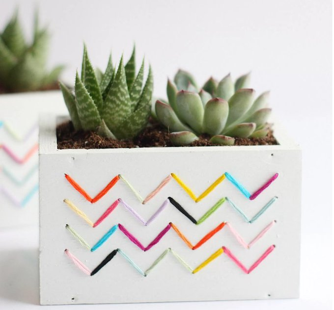 DIY Stitched Planters