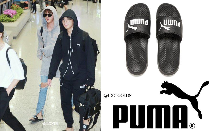 f731318f807084  BTS  JIN    Jungkook  정국  진 both wearing  Puma Men s Popcat Slide Sandals  ( 21.12 USD) (shop link in bio!)  방탄소년단  idolootdspic.twitter.com  ...