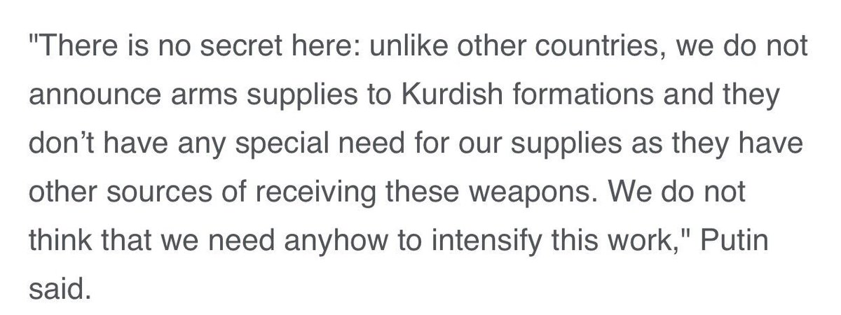 Putin reassures Turkey that Russia, unlike the US, isn't providing arms to the YPG.