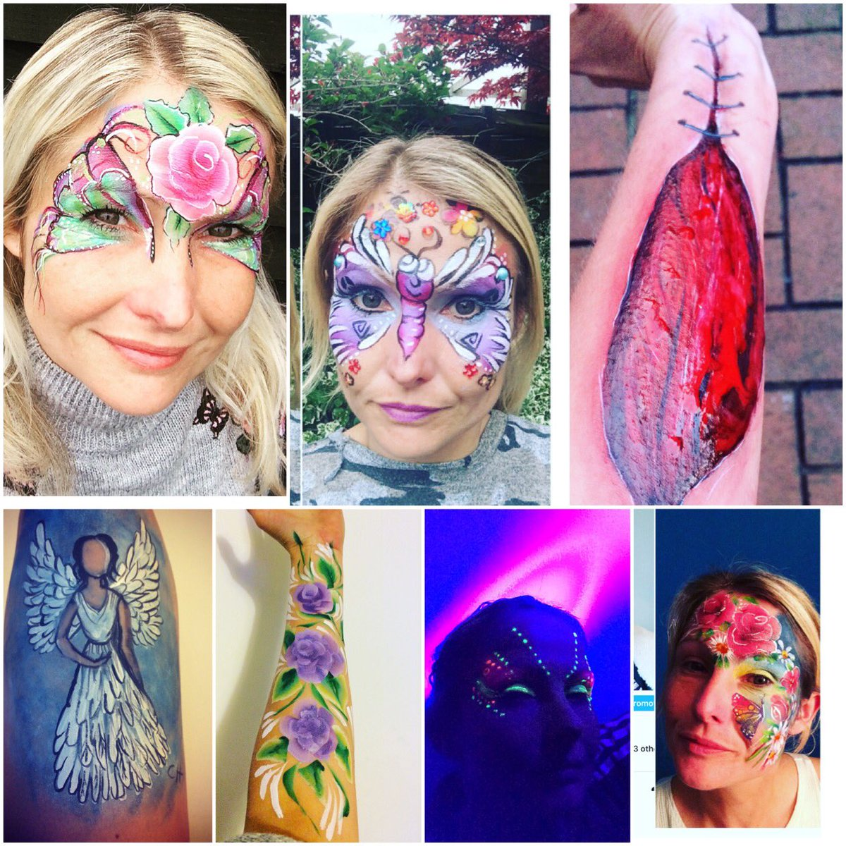 #facepaint #facepainter #Flowers #roses2017 #clubbing #sfx #butterfly @SillyFarm @facepaintchelt inspired #uv #angel<br>http://pic.twitter.com/P09HGHwNB4