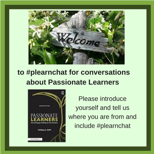 Welcome to today's #plearnchat on Passionate Learners. Please introduce yourself & tell us where you are from. I'm Barbara from Oakland, CA https://t.co/A2IjX7rTJh