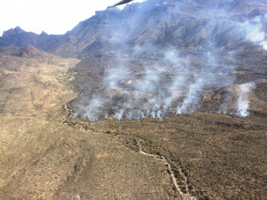 Crown Mountain Fire, as seen Monday May 15th from the air. This fire is in the Juniper Canyon area, southeast of the Chisos Mountains.