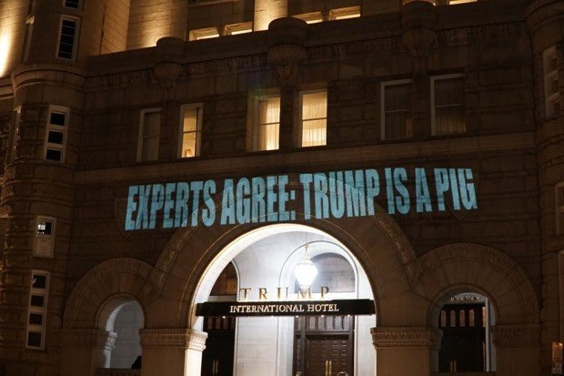 Robin Bell is leading D.C.'s art protests through light projections. Here are some others: https://t.co/ZjWyTLy1RI https://t.co/GtGGKHJL9n