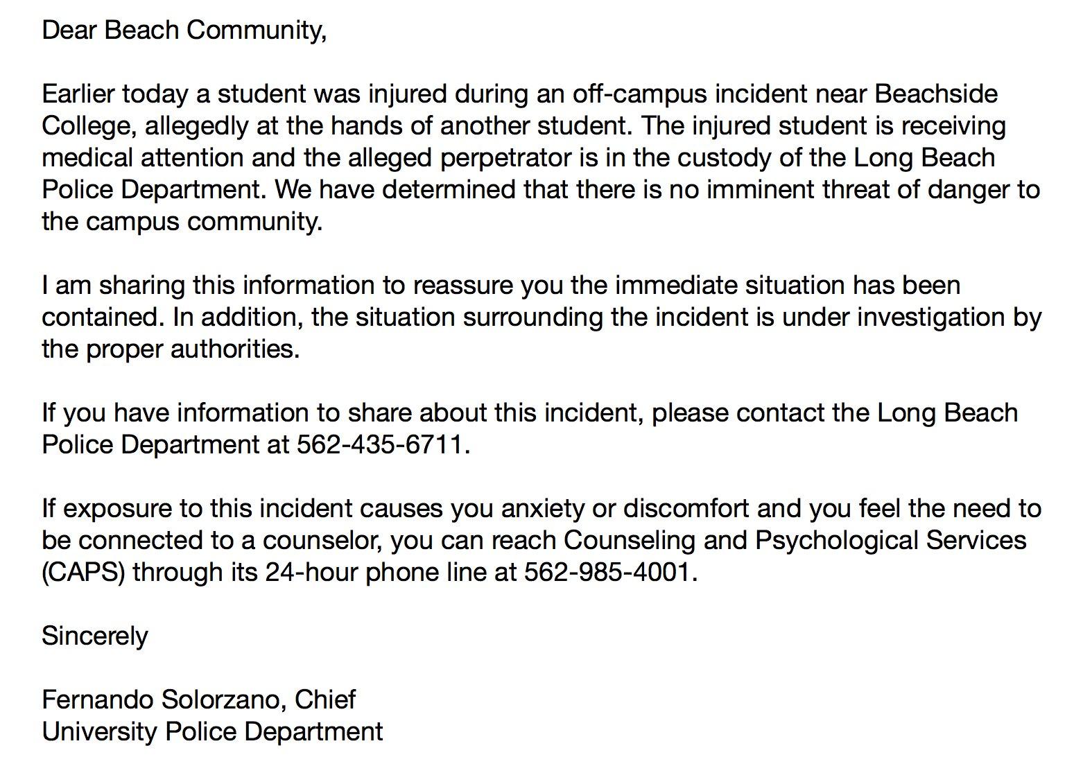 .@READYBEACH released an email regarding a student injury. #CSULB #49erNow https://t.co/nZ4qmYIPfU