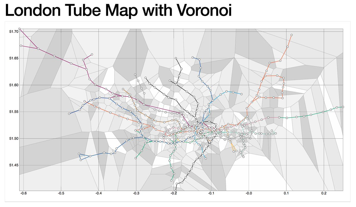 Randy Olson On Twitter D3js Dataviz Of Voronoi Diagram For The London Tube Map Showing Closest Station Every Location In City