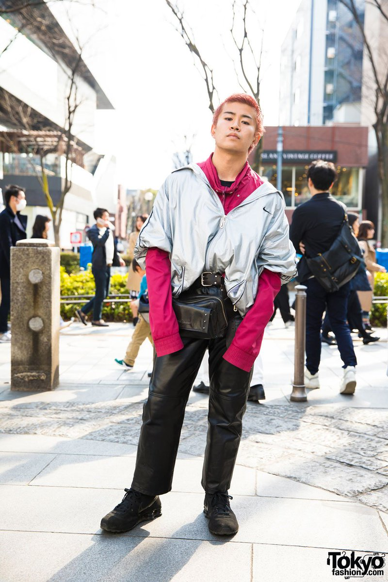 687a17f2fc6d0f harajuku guy in silver nike jacket worn off shoulder jean paul gaultier  waist bag marc jacobs