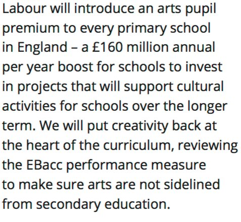 Labour manifesto includes an annual £160 million pot to support cultural activities in primary schools. https://t.co/oWGaB98wkM