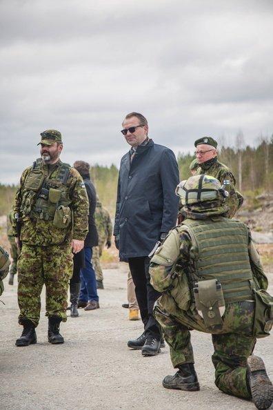 Finnish #DefMin in Estonia at #SpringStorm17 inspecting bridge built by Finnish combat engineers