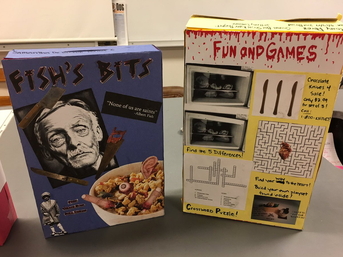 Ihs Forensics On Twitter Serial Killer Cereal Boxes Are Due Tomorrow At Beginning Of Class Presentations Start Tomorrow Irvinghs2017 Irvinghigh Https T Co Gixkzgua7x