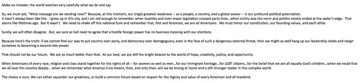 Susan Rice argues at #CAPIdeas that America could 'squander our greatness' by failing to put country over party. The full excerpt: