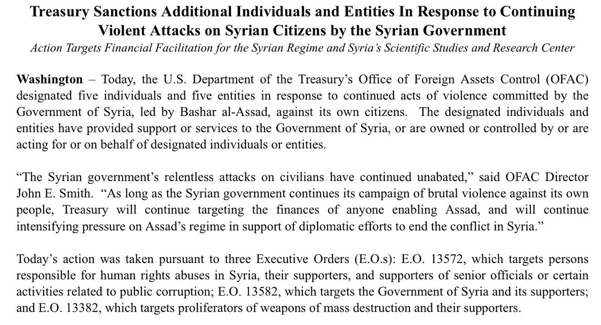 More sanctions vs Syria for attacks on civilians per @USTreasury