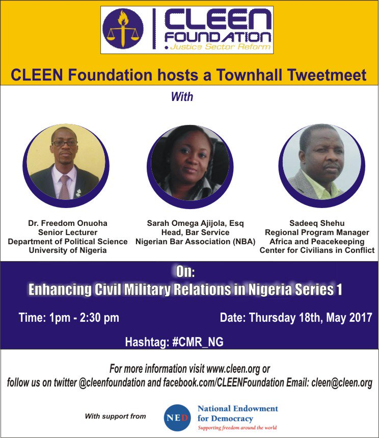 Join us on #CMR_NG  @cleenfoundation @NEDemocracy @HQNigerianArmy @DefenceInfoNG  @NigerianNavy @NigAirForce @PoliceNG @ChidiOdinkalu https://t.co/ReQTQgJX41