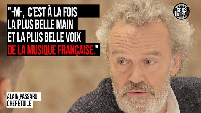 '-M-, c'est à la fois la plus belle main et la plus belle voix de la musique française.' - @ArpegeLive #GrosJournal https://t.co/4tjDvZOxVj