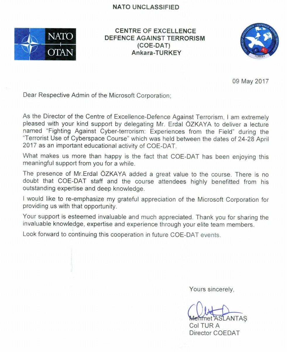 Erdal ozkaya on twitter thank you nato center of excelence erdal ozkaya on twitter thank you nato center of excelence defence against terrorism for this appreciation letter its always a pleasure 2 work together spiritdancerdesigns Gallery