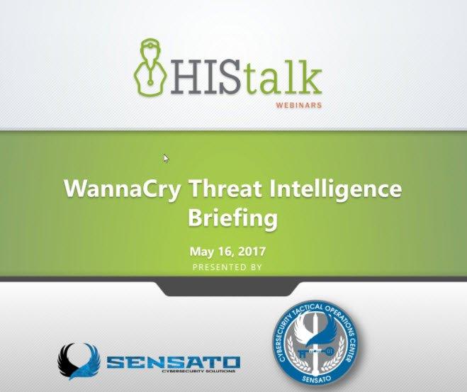 Tweeting from today's #WannaCry Threat Intelligence Briefing #HIStalk https://t.co/XFmEDLdIYN