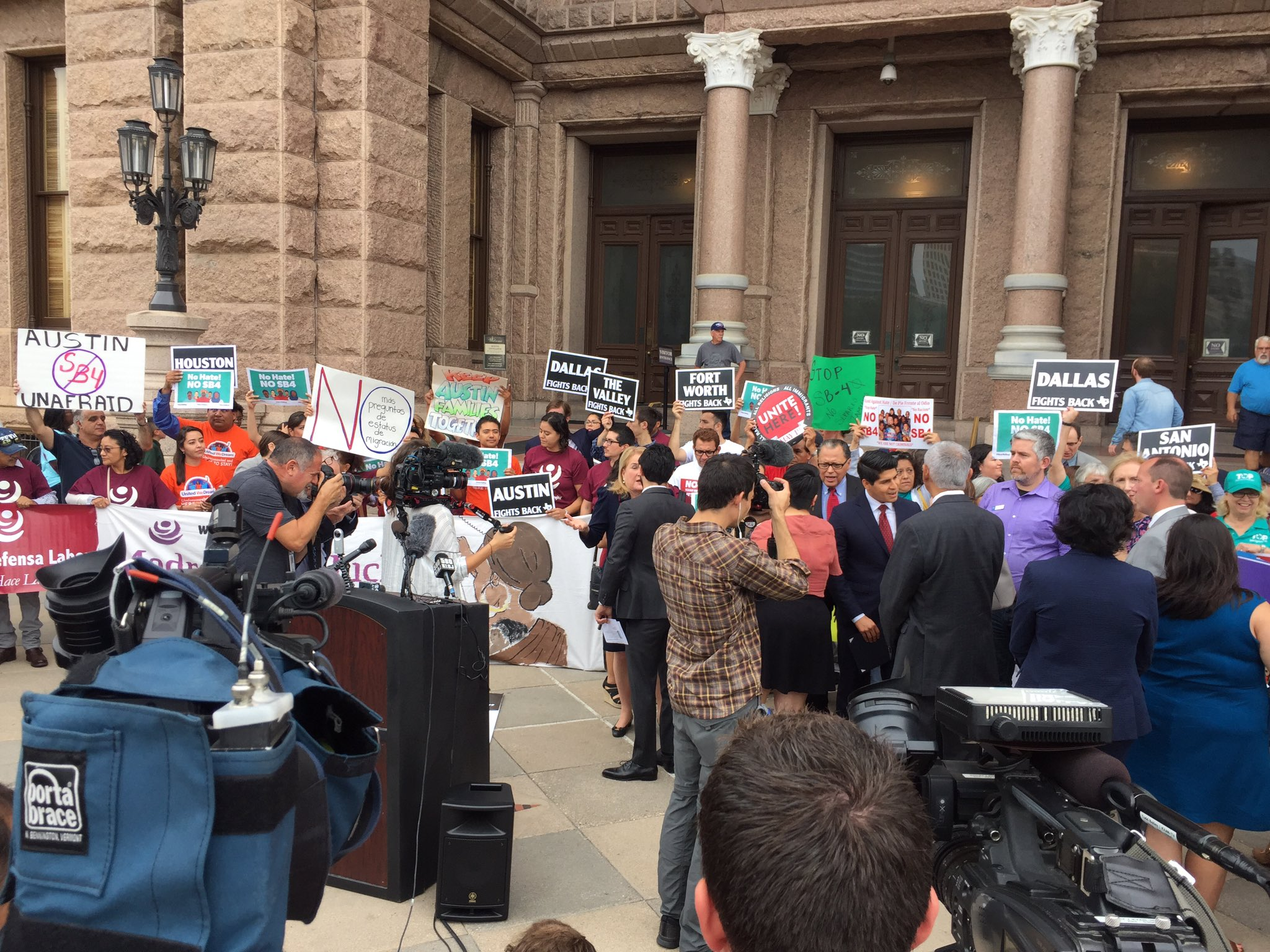 RIGHT NOW: Elected leaders from #SATX #ATX and other #texas cities take stand against #SB4, including suing state. #txlege https://t.co/kDXCIdWHSb