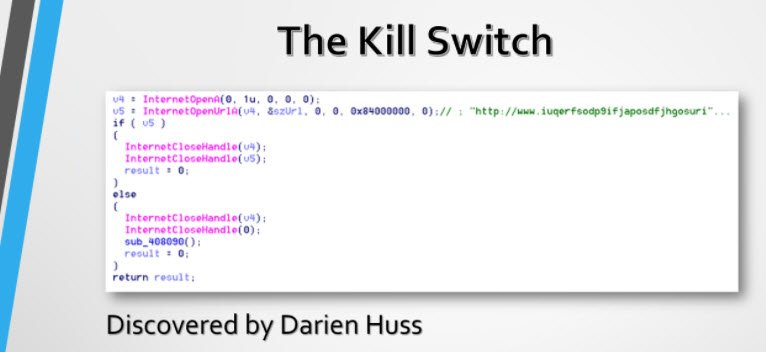 """Not a lot of magic once you look under the covers."" #WannaCry kill switch discovered by cybersecurity researcher @darienhuss #HIStalk https://t.co/FjQUIVn5T8"