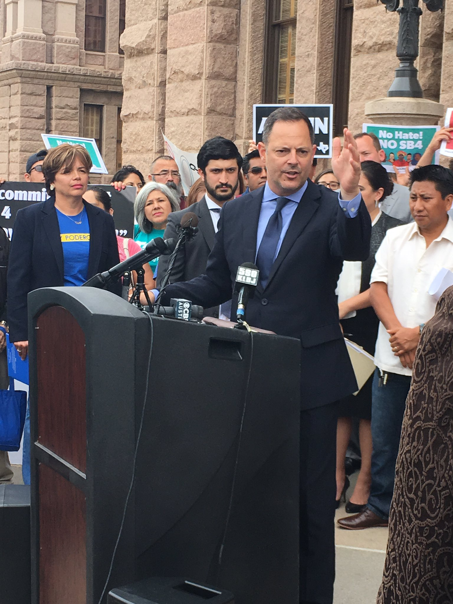 """Rep. @RafaelAnchia says lawmakers, police and businesses came forward to talk about the """"evils"""" of #SB4 https://t.co/jhjO4t1lDU"""