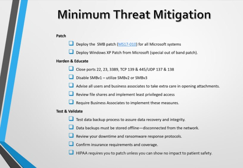 At the very least, your cybersecurity threat mitigation should focus on 3 things #HIStalk https://t.co/MGeR34Lpyx