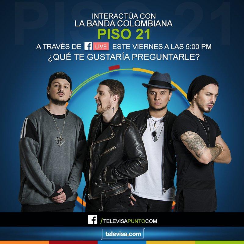 La banda colombiana, @piso21music, está de visita en nuestro país y los tendremos en #EXCLUSIVA, este viernes, en #FBLive. https://t.co/DuzzntoGSO
