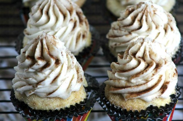 Churro Cupcakes with Cinnamon Goodness
