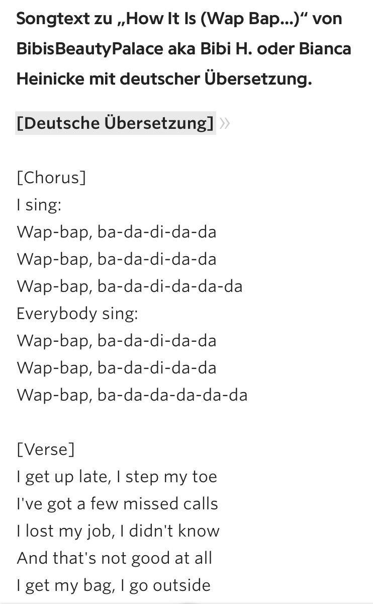 World Wide Wohnzimmer On Twitter Und Hier Die Lyrics Zu Bibis
