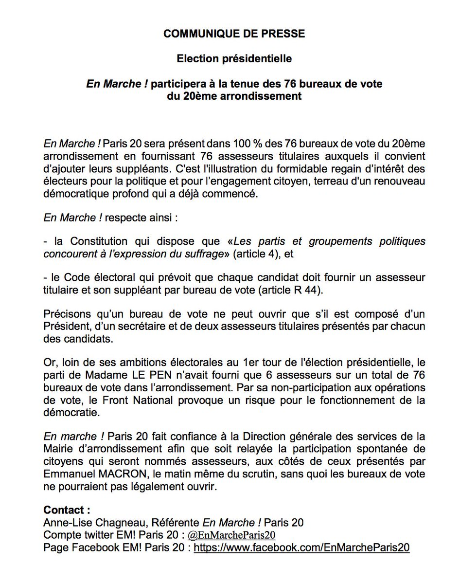 Pierre Rivoallan on Twitter Pas dassesseurs LePen dans les