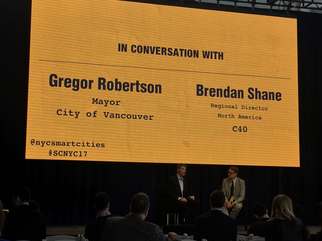 Mayor Gregor Robertson sharing the Vancouver experience @nycsmartcities #SCNY17 @smartcitiesres