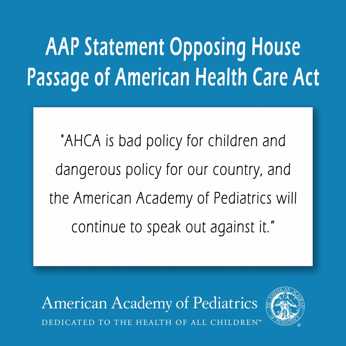 #AHCA just passed the House, reversing progress to #KeepKidsCovered. Our statement: https://t.co/ZnIhHStL29 https://t.co/PYx1HGgKLE
