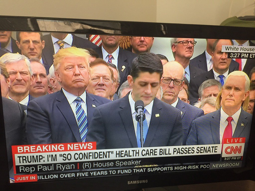 Here's a photo of Republicans celebrating the health care bill. Guess what they have in common.
