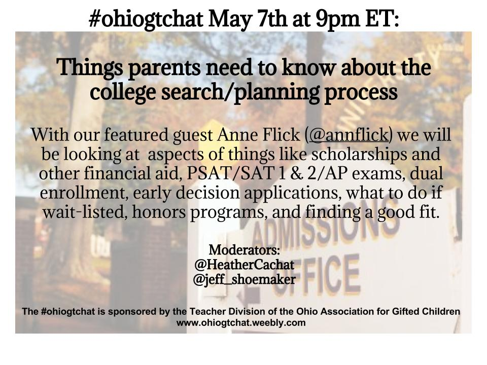 Thumbnail for #ohiogtchat: May 7: Things parents need to know about the college search/planning process