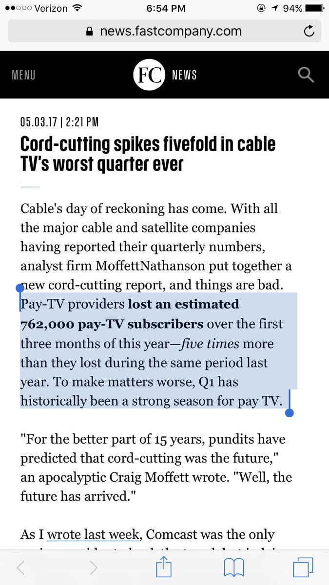 Cord-cutting spikes fivefold in cable TV's worst quarter ever... https://t.co/zLLJ8aMAUS https://t.co/iK3HnqEPGg
