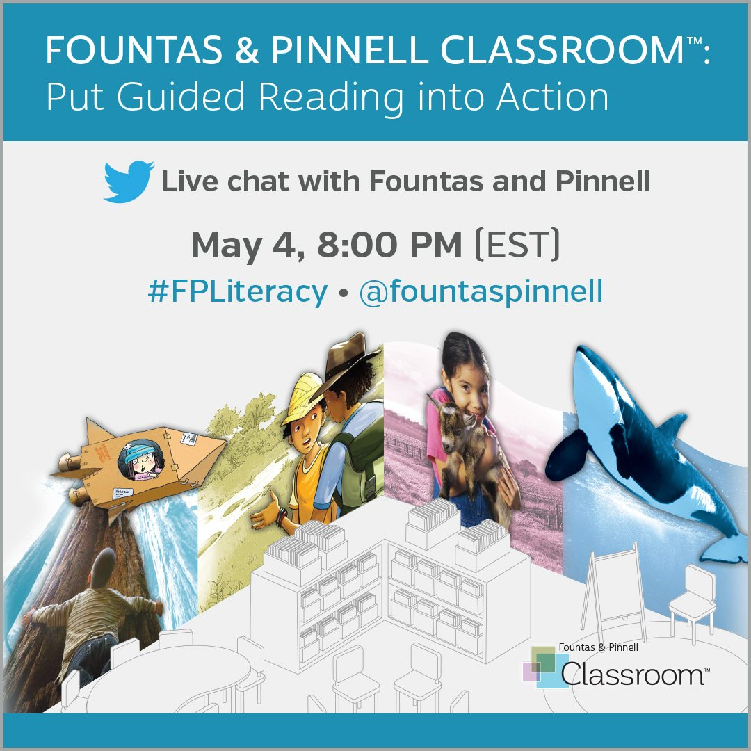 Join us IN FIVE MINUTES for a chat about GUIDED READING with @FountasPinnell!! #FPLiteracy https://t.co/5bcE4YcNdo