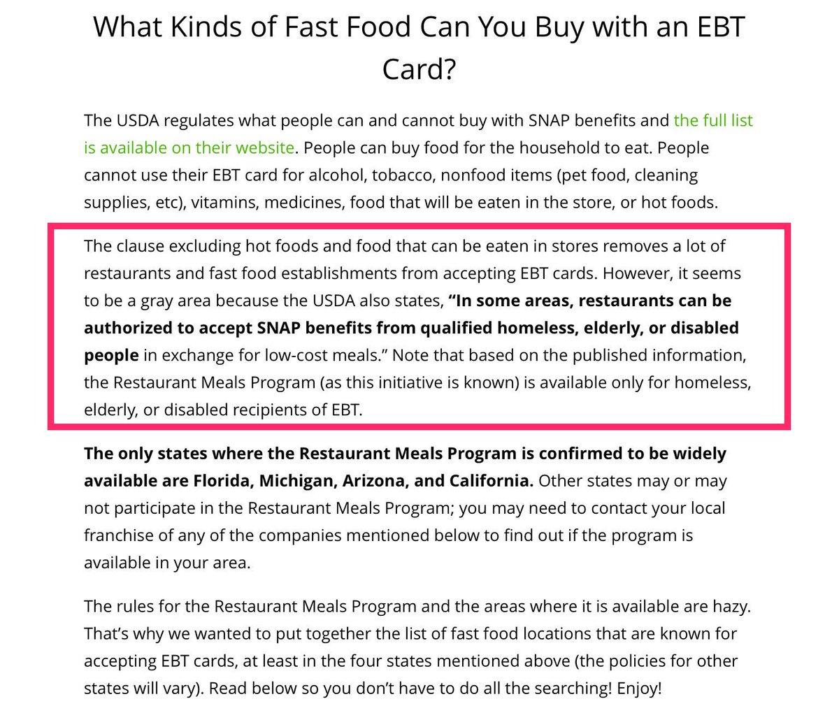 Fast Food Ebt Cards