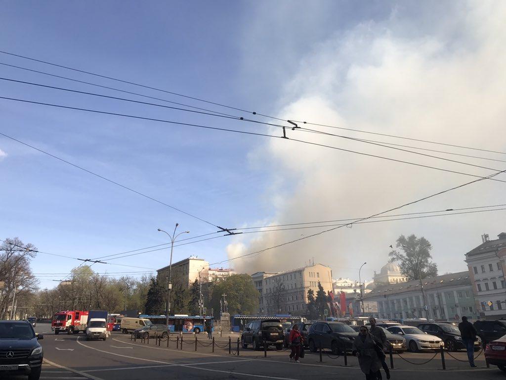Пожар вмногоэтажном здании наЛубянском проезде в российской столице потушили