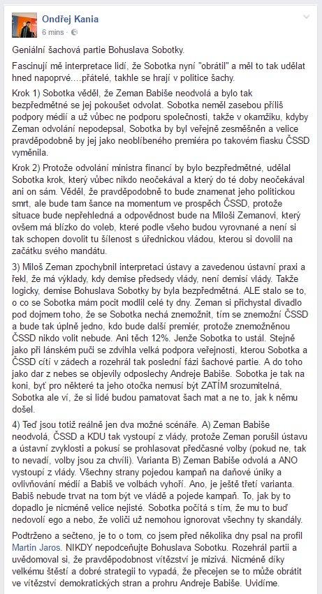 Tohle mi taky dává smysl. Podceňovat Sobotku je chyba, umí v tom chodit a duo Zeman/Babiš mu navíc nahrává. https://t.co/NdVy0zWSqI