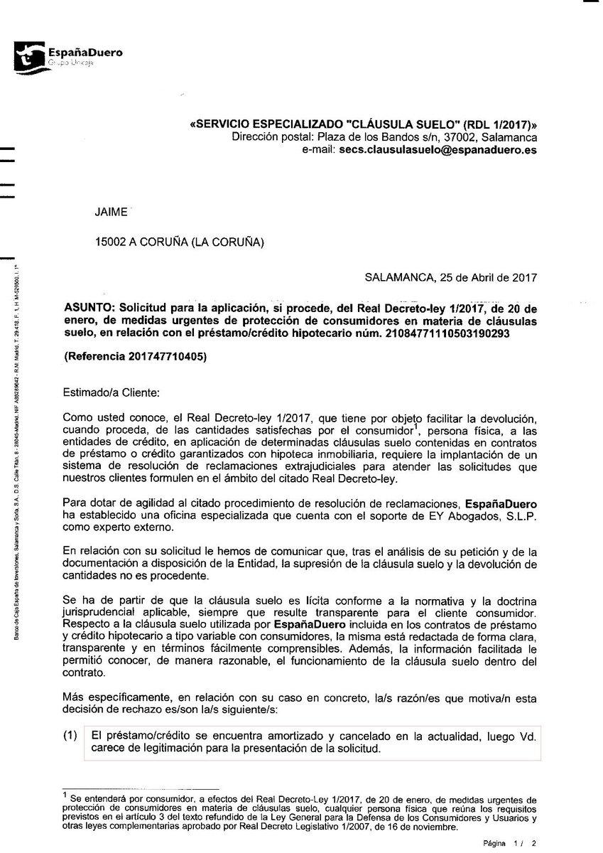Reclamar clausula suelo hipoteca cancelada simple no for Clausula suelo plazo para reclamar