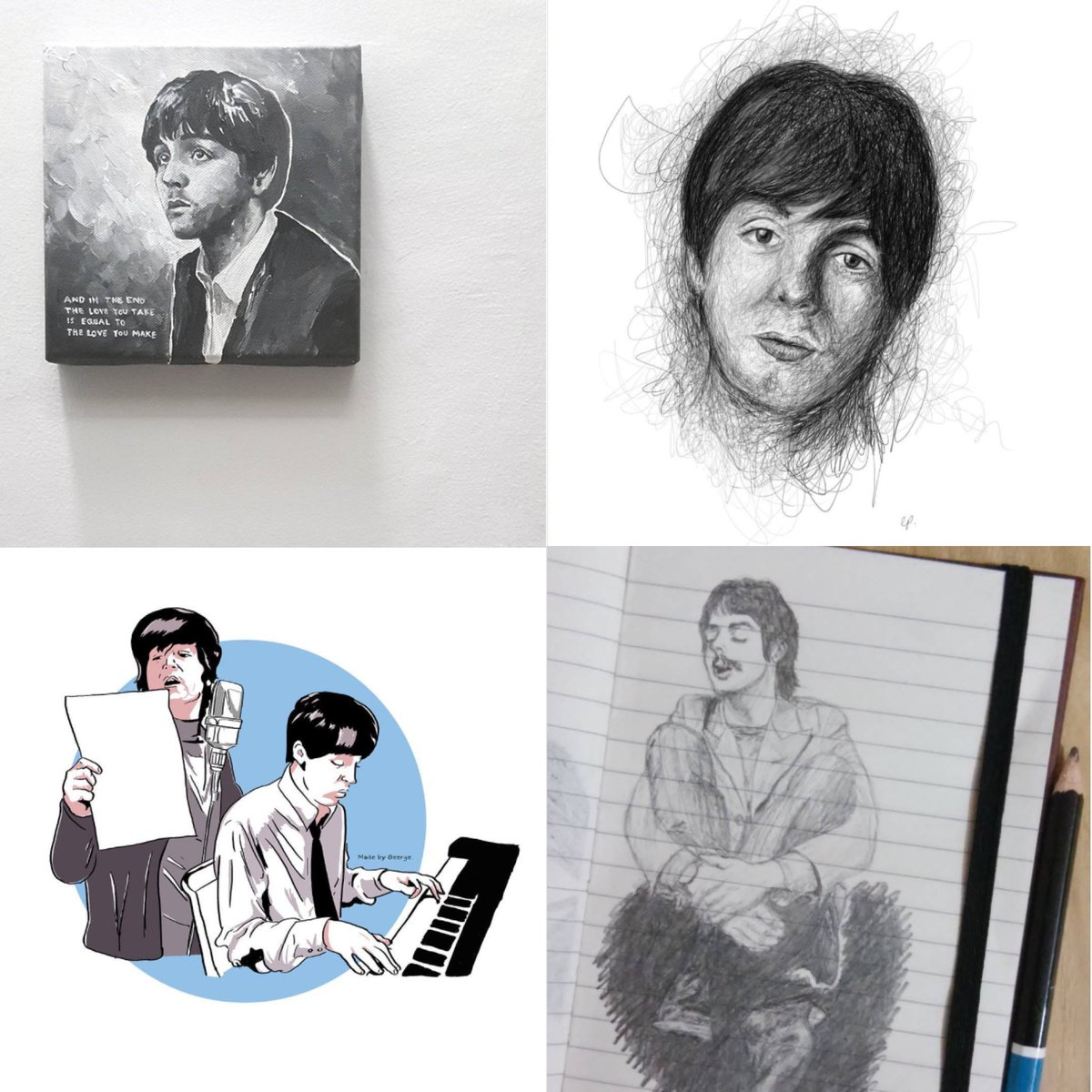 Paul McCartney On Twitter FanArtFriday By Instagram Users Tbof Bigmouthstrikes Pencilneedspaper Madebygeorge Share Your Fan Art With The Hashtag